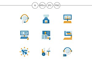 Education online flat simple icons