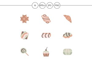 Candy shop flat color vector icons