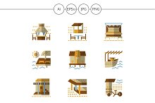 Bungalows and cafe flat icons. Set 1