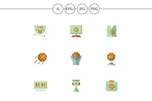 Basketball flat vector icons. Set 1