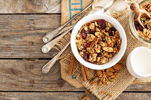 Homemade granola with milk for breakfast