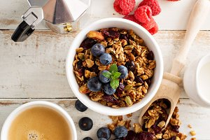 Homemade granola with berries for breakfast