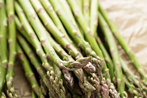Fresh green asparagus on the table