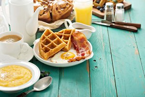 Southern cuisine breakfast with waffles