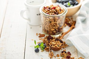 Homemade granola with milk for breakfast