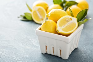 Fresh bright colorful lemons