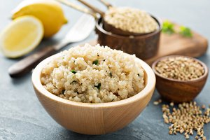 Lemon herbed quinoa in a bowl