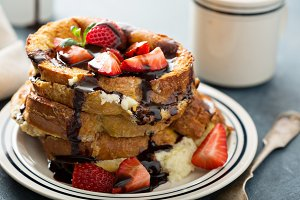 French toast with coffee and mascarpone