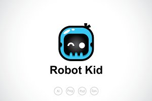 Robot Kid Logo Template