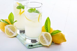 Fresh homemade lemonade in tall glasses