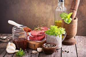 Herbs and sauces for meat