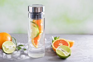 Infused water with orange and lime