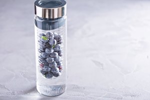 Infused water with mint and blueberries
