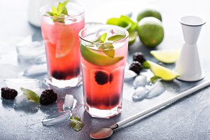 Blackberry and lime refreshing summer cocktail