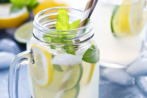 Fresh citrus lemonade in mason jars