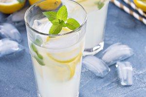 Classic lemonade on blue background