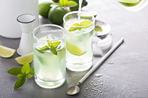 Refreshing cold cocktail with mint and limes
