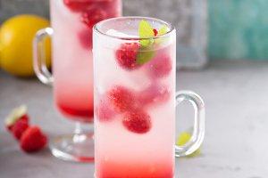 Pink raspberry lemonade in tall glasses