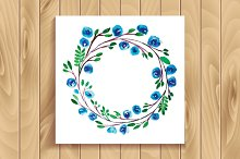 Frame of watercolor flowers. Set.