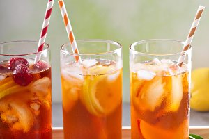 Iced tea variety in tall glasses