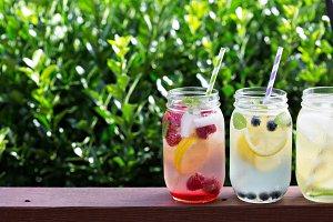 Variety of lemonade in jars