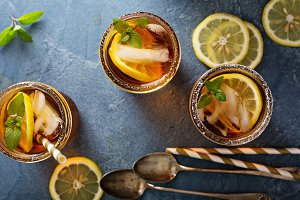 Iced tea overhead shot