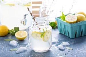 Fresh citrus lemonade in beverage dispenser