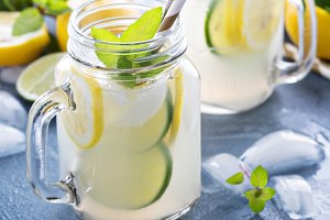Fresh citrus lemonade in mason jars
