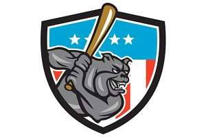 Bulldog Baseball Batting USA Crest