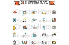 Flat line home appliance icon set