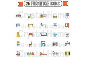 Flat line home appliance icon set