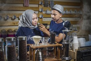 Barista Coffee Shop Couple
