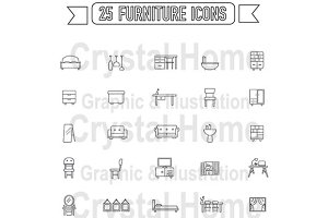 Flat line silhouette furniture icon