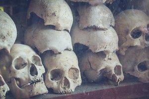 Uman skulls of victims, Cambodia.