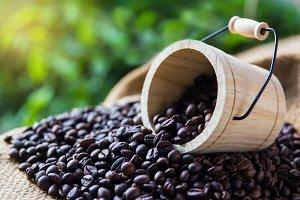 coffee beans in wood bucket