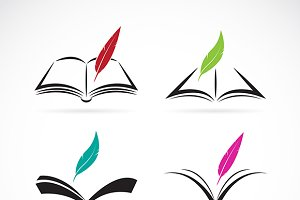 Vector image of an book and feather.