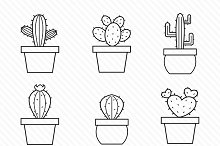 Set of vector cactus icons.