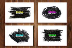 Grungy charcoal vector banners