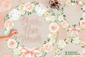 Watercolor peach roses wreaths