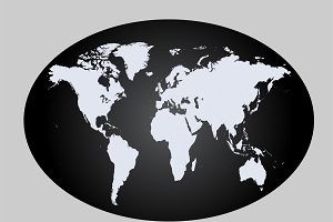 World map planet black