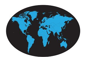 World map planet with borders blue