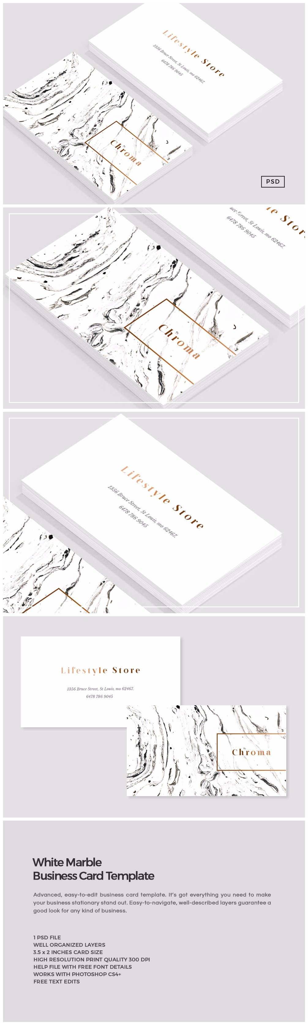 White Marble + Copper Business Card ~ Business Card Templates ...