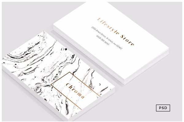 White Marble + Copper Business Card