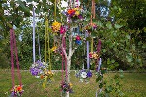 Hanging flowers on tree