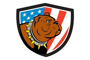 Bulldog Head USA Flag Crest Cartoon