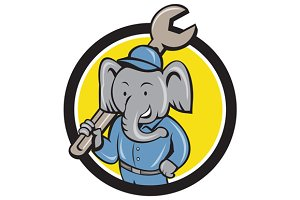 Elephant Mechanic Spanner Shoulder