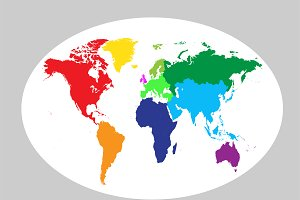 World map planet colored vector