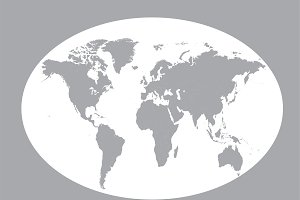 World map planet gray flat design