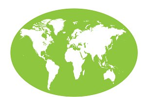 World map planet green flat design