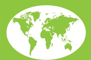 World map planet green vector